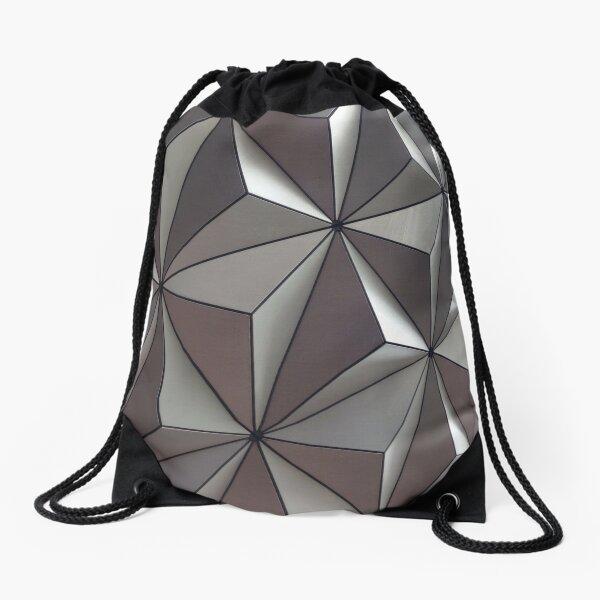 3D Surface, #abstract #pattern #mosaic #design #art #illustration #modern #tile #shape #square #vertical #colorimage #geometricshape #textured #backgrounds #seamlesspattern #triangleshape #styles Drawstring Bag