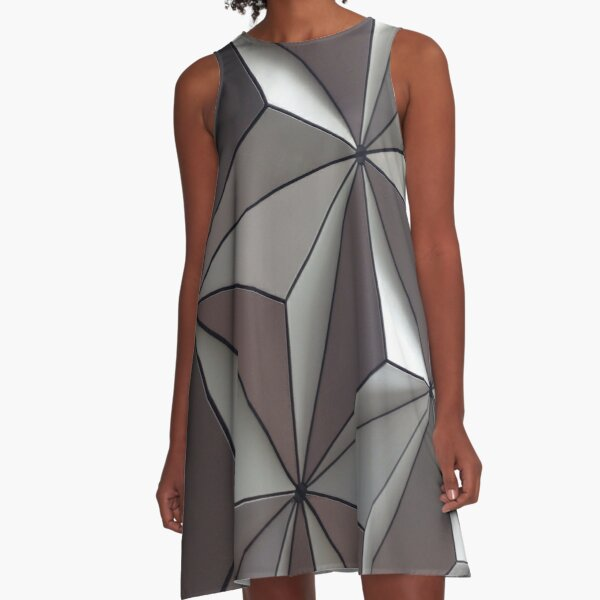 3D Surface, #abstract #pattern #mosaic #design #art #illustration #modern #tile #shape #square #vertical #colorimage #geometricshape #textured #backgrounds #seamlesspattern #triangleshape #styles A-Line Dress
