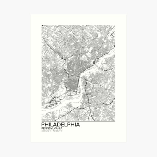 Philadelphia map poster print wall art, Pennsylvania gift printable, Home and Nursery, Modern map decor for office, Map Art, Map Gifts Art Print