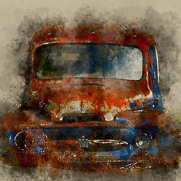 Old Rusted Truck Watercolor Image by rhamm