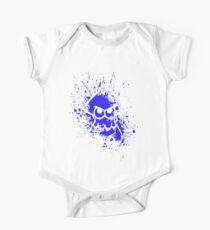 Splatoon White Squid on Blue Splatter Mask One Piece - Short Sleeve