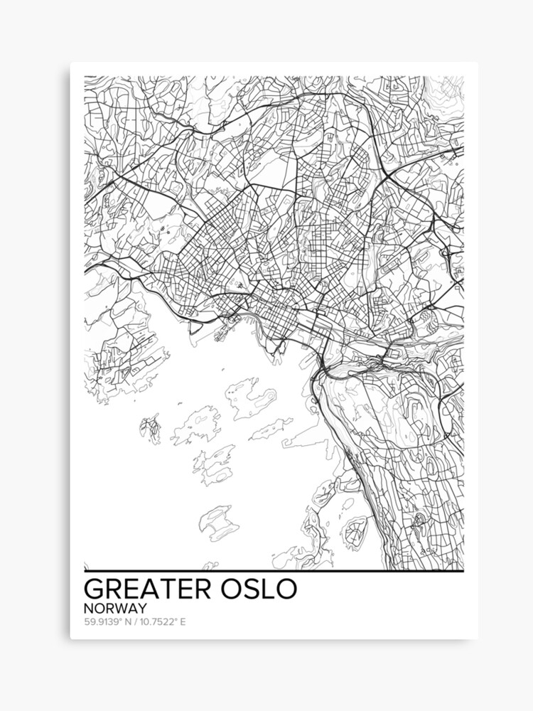 image about Printable Map of Norway referred to as Much larger Oslo map poster print wall artwork, Norway reward printable, Property and Nursery, Ground breaking map decor for office environment, Map Artwork, Map Presents Canvas Print