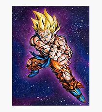 Supersayian Goku mit Galaxie-Hintergrund Fotodruck