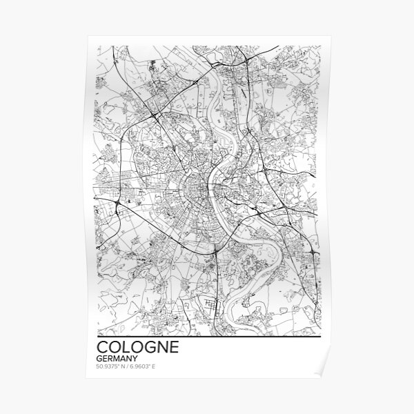 Cologne wall art prints Cologne poster Travel maps wall art posters Germany prints City map print of Cologne Cologne map print