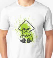 Splatoon Black Squid on Green Splatter T-Shirt