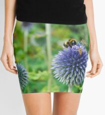 The Buzz in the Garden Blue Globe Flowers Mini Skirt