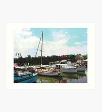 Tuckerton Seaport Docked Cabin Cruisers Art Print