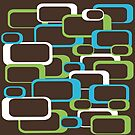 Retro Squares Pattern Blue Green White Brown by ValeriesGallery