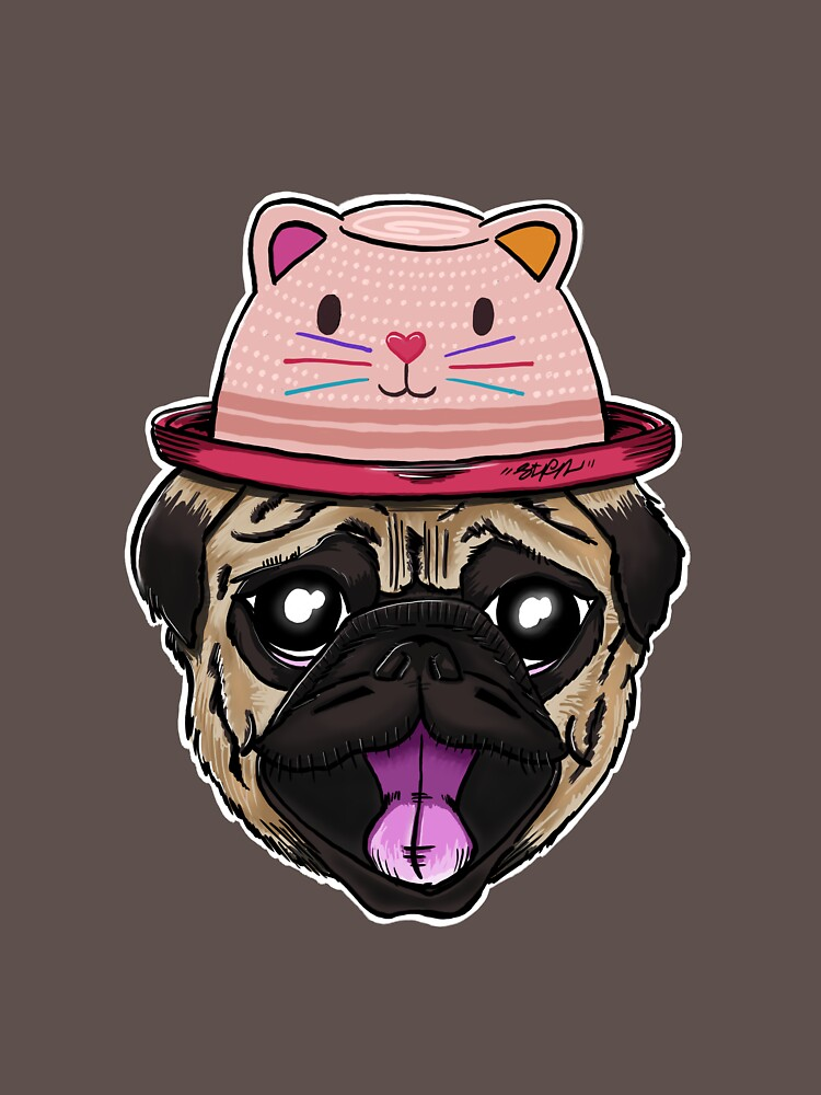 Pugs Life - Dog with Cat Hat by stfn