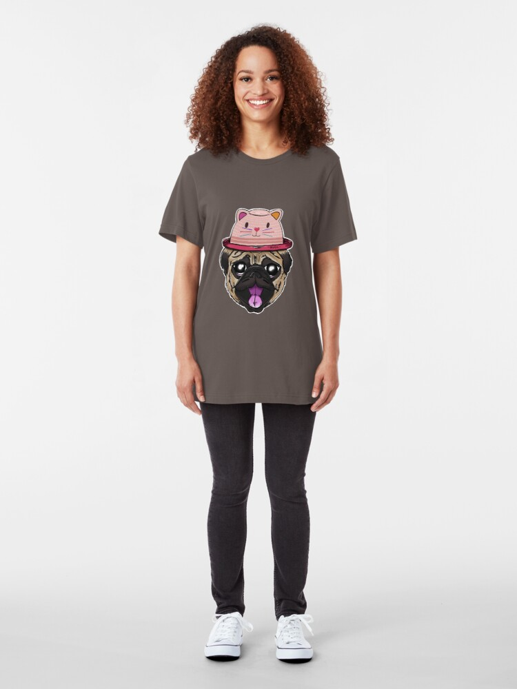 Alternate view of Pugs Life - Dog with Cat Hat Slim Fit T-Shirt