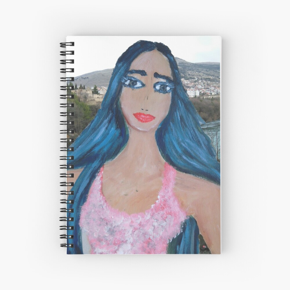 Blue Haired Woman Spiral Notebook