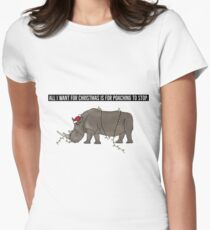 All I want for Christmas is for poaching to stop (larger message) Women's Fitted T-Shirt