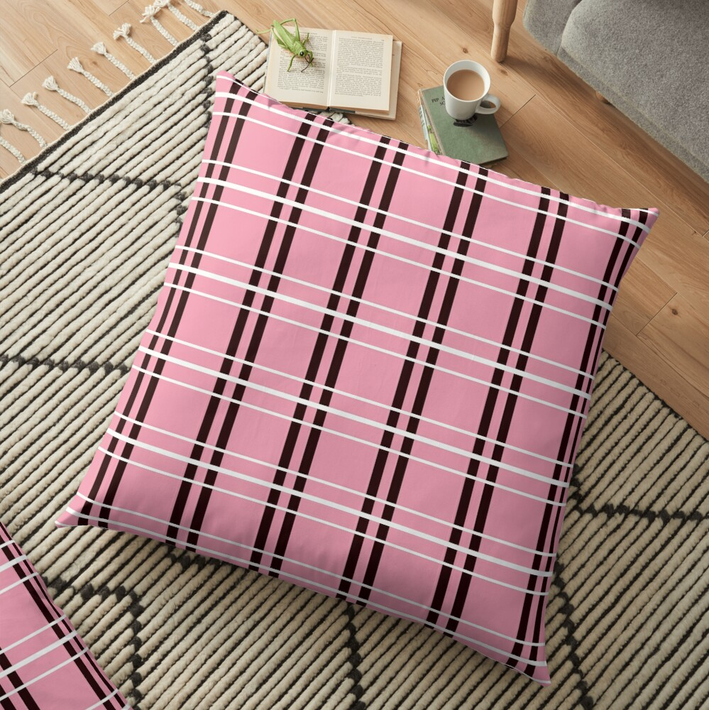 Pink with Black and White Checker Pattern Floor Pillow