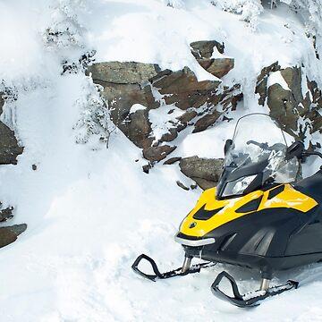 Yellow Snowmobile on Killington Summit by srwdesign