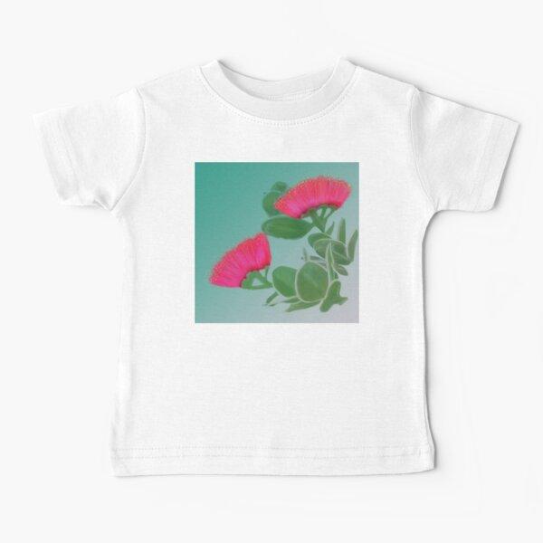 Hawaiian Red Lehua Blossom teal background Baby T-Shirt