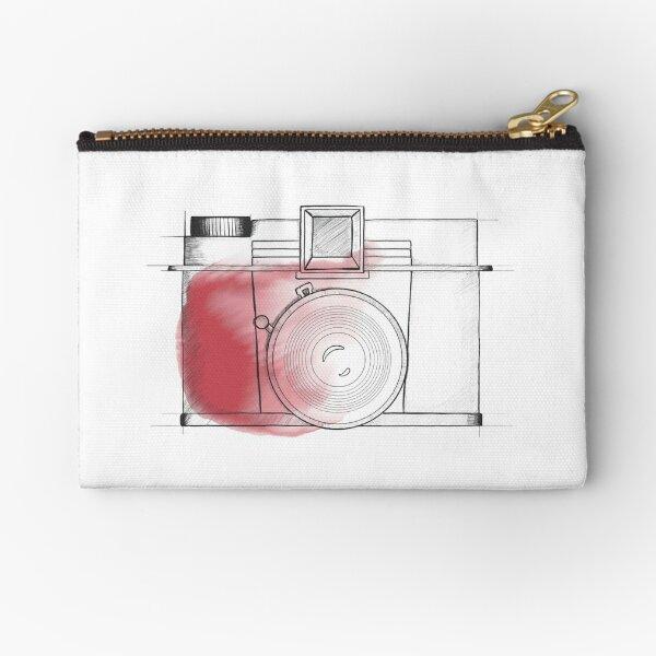 watercolor splash vintage camera illustration Zipper Pouch