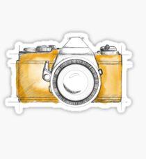 hand illustrated camera with yellow splash background Sticker