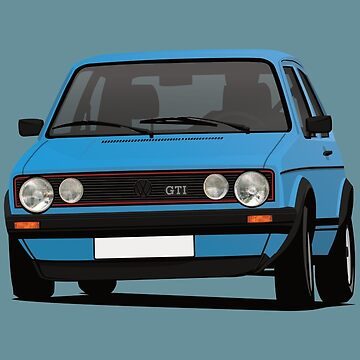 Golf GTI Mk1 cornering - with fog lights - blue by knappidesign