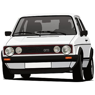 Golf GTI Mk1 cornering - with fog lights - white  by knappidesign