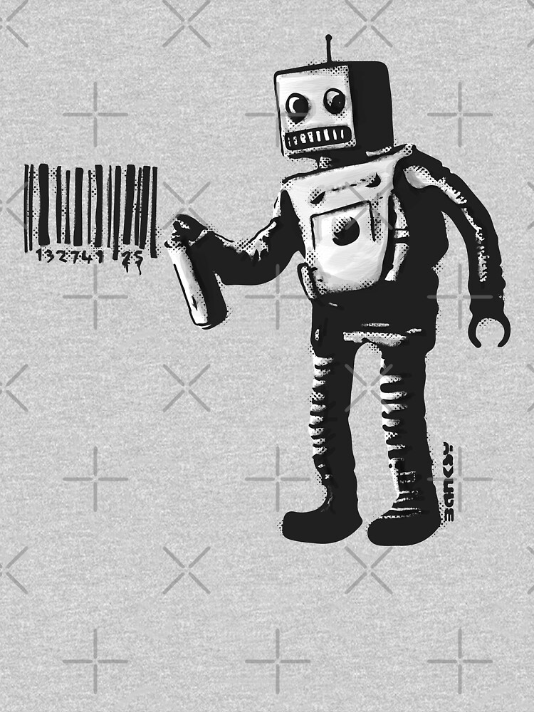 Banksy smiling Robot and barcodes Better Out Than In New York City residency black and white HD HIGHT QUALITY ONLINE STORE by iresist