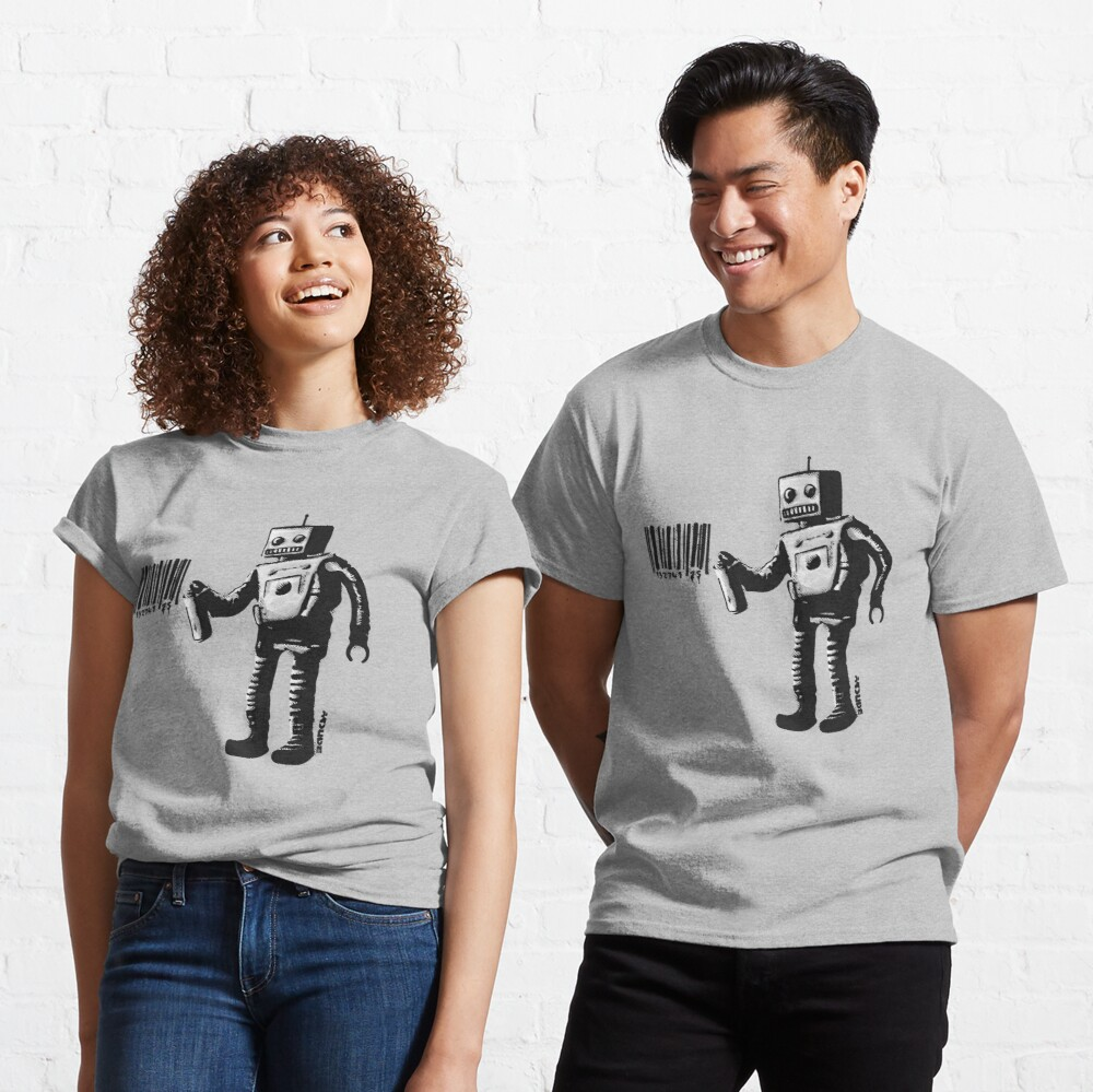 Banksy smiling Robot and barcodes Better Out Than In New York City residency black and white HD HIGHT QUALITY ONLINE STORE Classic T-Shirt