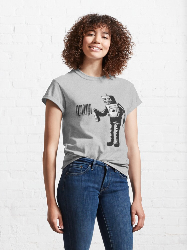 Alternate view of Banksy smiling Robot and barcodes Better Out Than In New York City residency black and white HD HIGHT QUALITY ONLINE STORE Classic T-Shirt