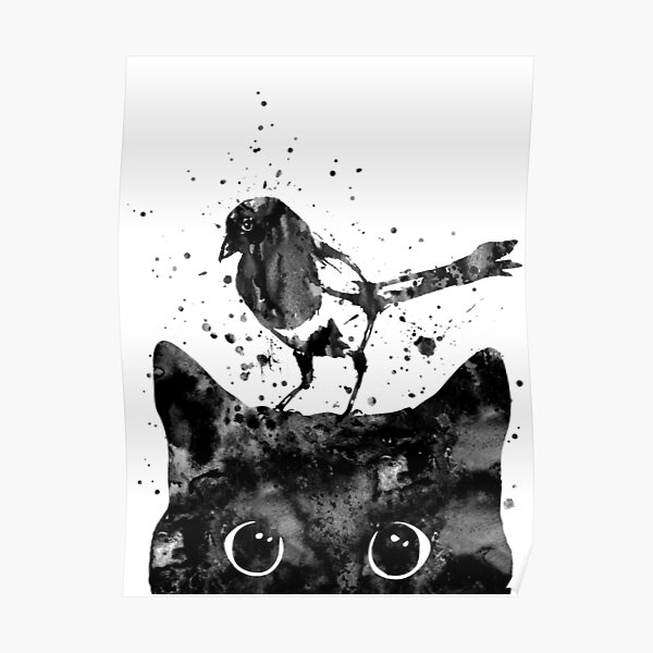 Peeking cat and Magpie Poster