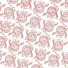 Red Spirals on White by plumecloth