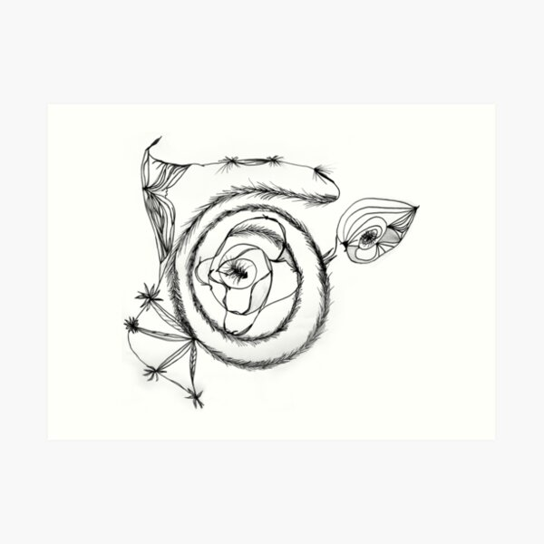 Black Spiral on White Art Print