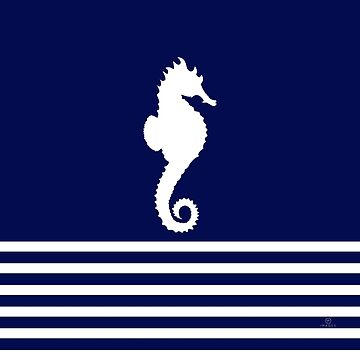 AFE Navy & White Seahorse, Nautical Art by afeimages1