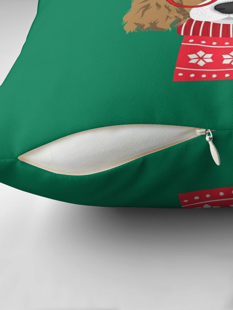 Alternate view of Cavalier King Charles Spaniel Funny Holiday Xmas Christmas Throw Pillow