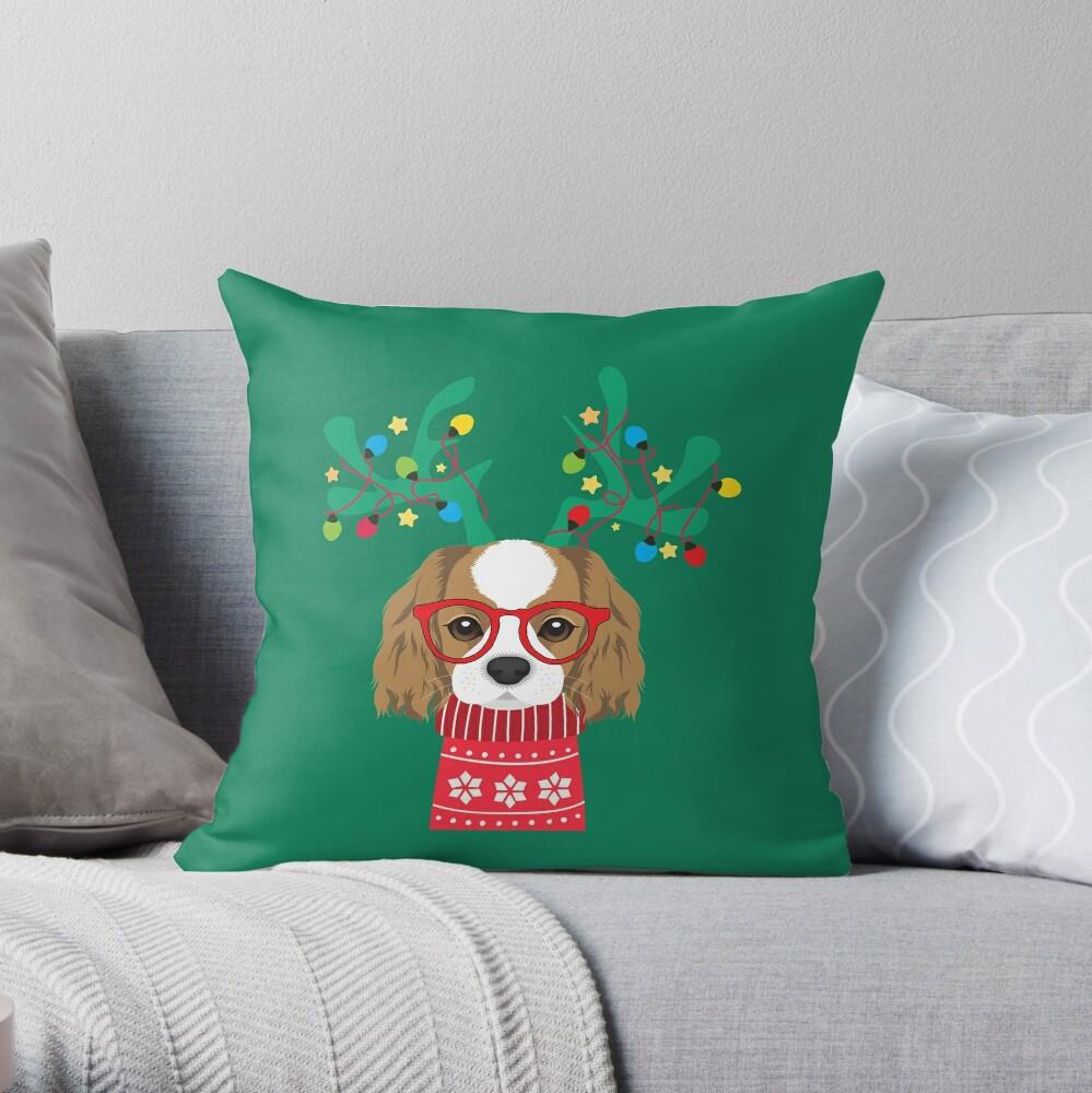Cavalier King Charles Spaniel Funny Holiday Xmas Christmas Throw Pillow