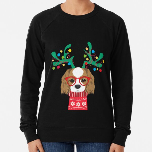 Cavalier King Charles Spaniel Funny Holiday Xmas Christmas Lightweight Sweatshirt