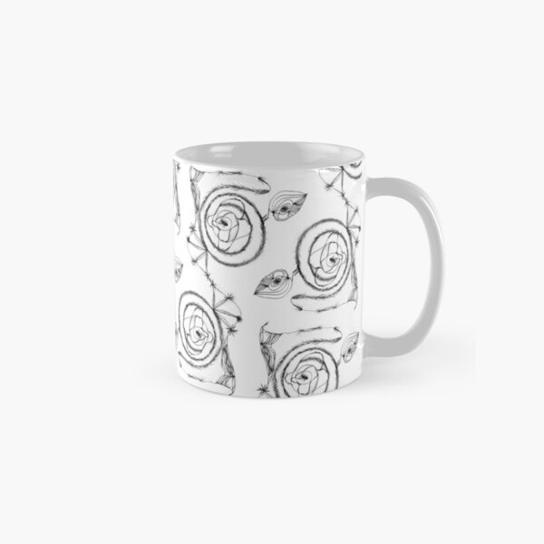Black Spirals on White Classic Mug