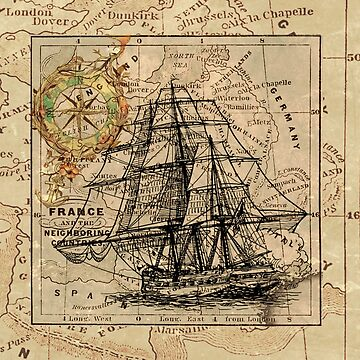 Old ship map  by franceslewis