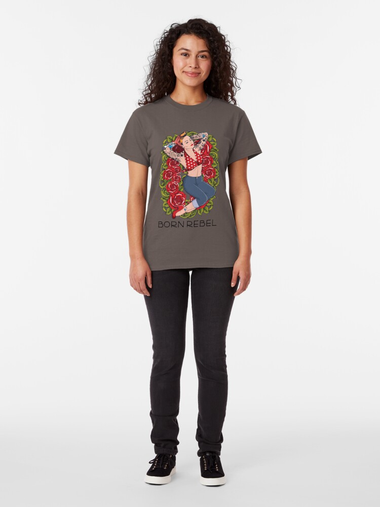 Alternate view of Born Rebel - Lady in Roses Classic T-Shirt