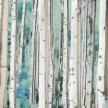 Birkenwald, digitales Aquarell, Aquamarin von PixDezines