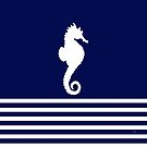 AFE Navy & White Seahorse, Nautical Art by Amalia Ferreira-Espinoza