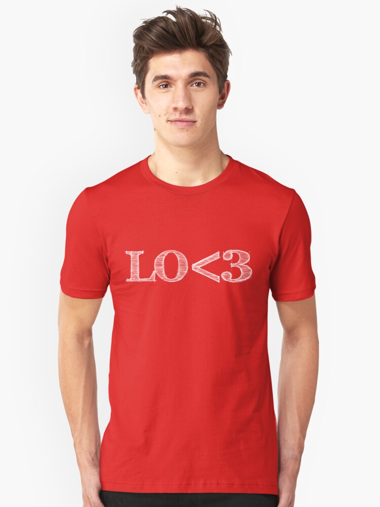 Lo<3 (with white text) Unisex T-Shirt Front