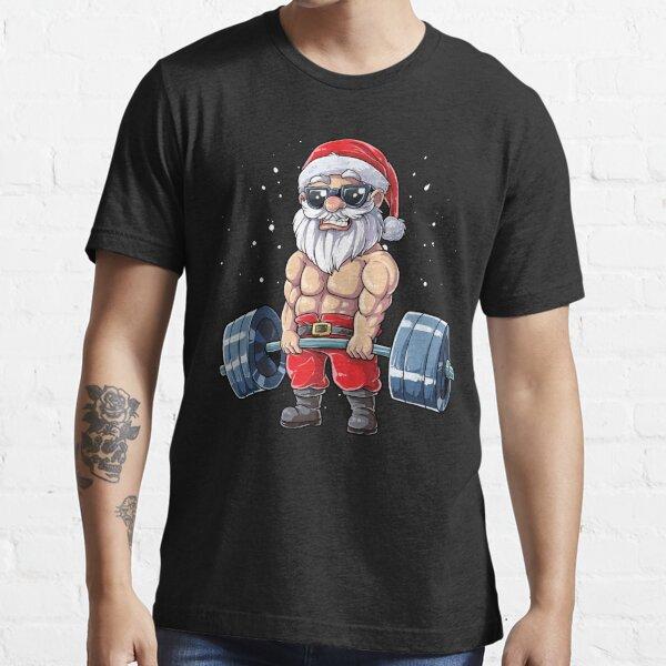 Fitness Christmas shirt Santa Deadlift Gym Xmas Men Gifts Essential T-Shirt