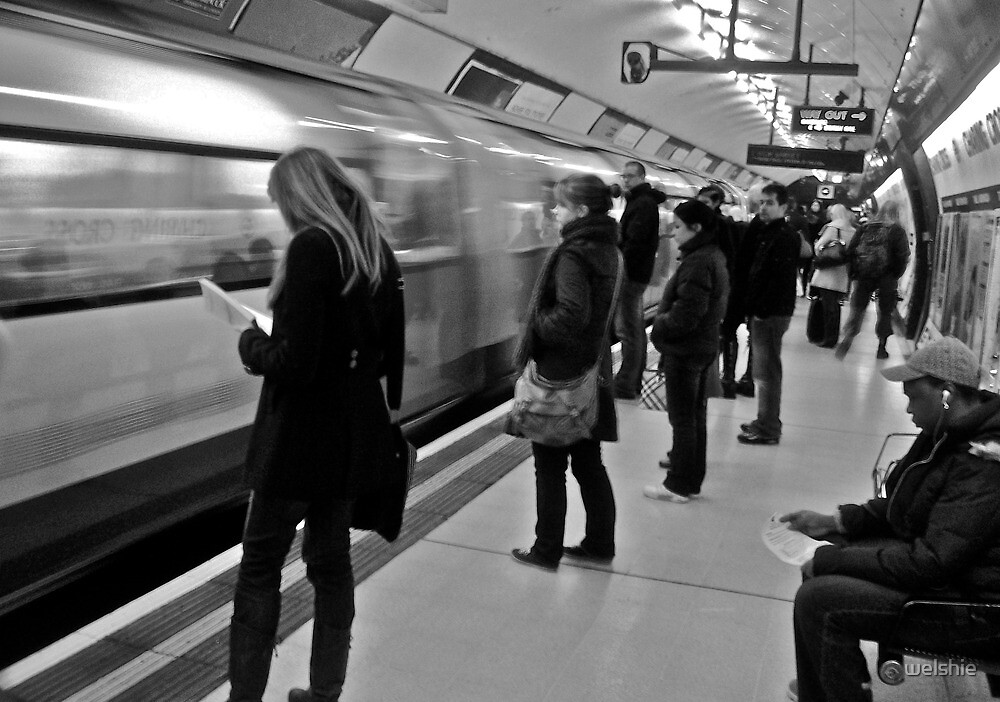 In their own Worlds - London tube (B+W) by welshie