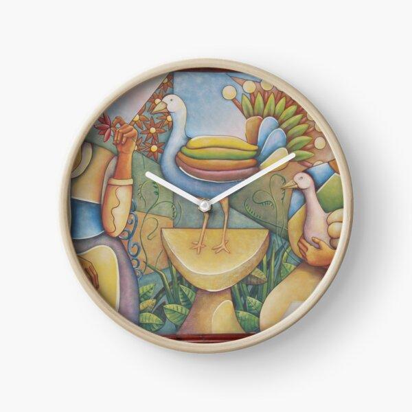 #Fantastic #bird #surrounded #two #girls #Painting #wall #hotel #cartoon #modernart #art #illustration #painting #god #mural #horizontal #colorimage #design #colors #people #imagination #designprof Clock