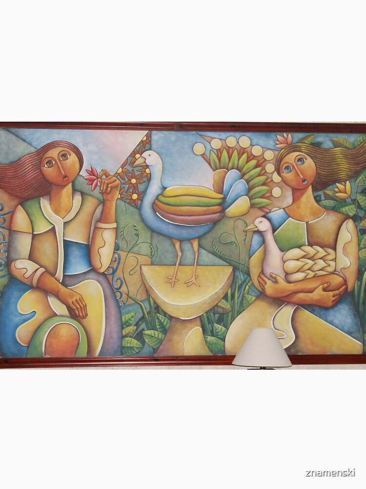#Fantastic #bird #surrounded #two #girls #Painting #wall #hotel #cartoon #modernart #art #illustration #painting #god #mural #horizontal #colorimage #design #colors #people #imagination #designprof by znamenski
