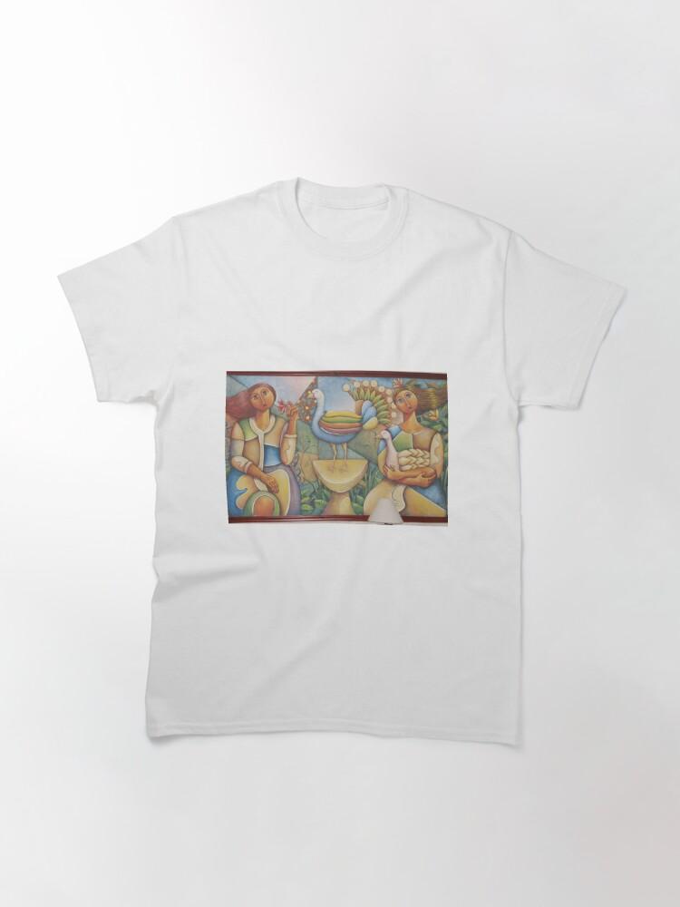 Alternate view of #Fantastic #bird #surrounded #two #girls #Painting #wall #hotel #cartoon #modernart #art #illustration #painting #god #mural #horizontal #colorimage #design #colors #people #imagination #designprof Classic T-Shirt