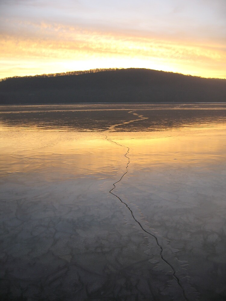 Rockland Lake Sunrise in Winter by Timothy Englert