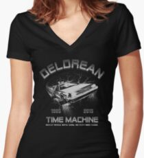 Delorean in Flight  Women's Fitted V-Neck T-Shirt