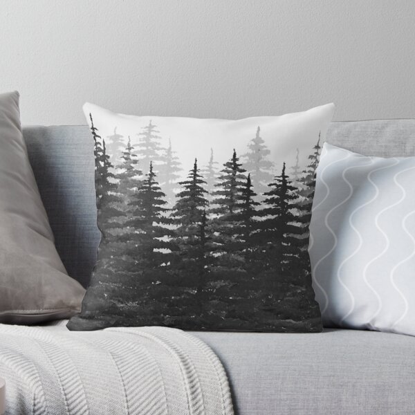 Pine Tree Forest in Silhouette Throw Pillow