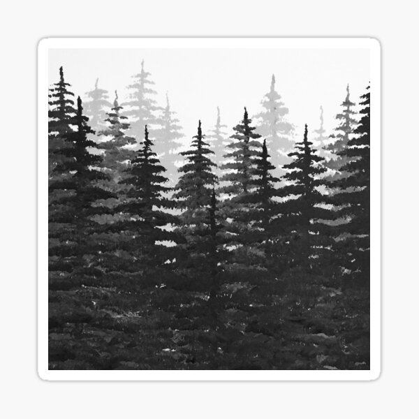Pine Tree Forest in Silhouette Sticker
