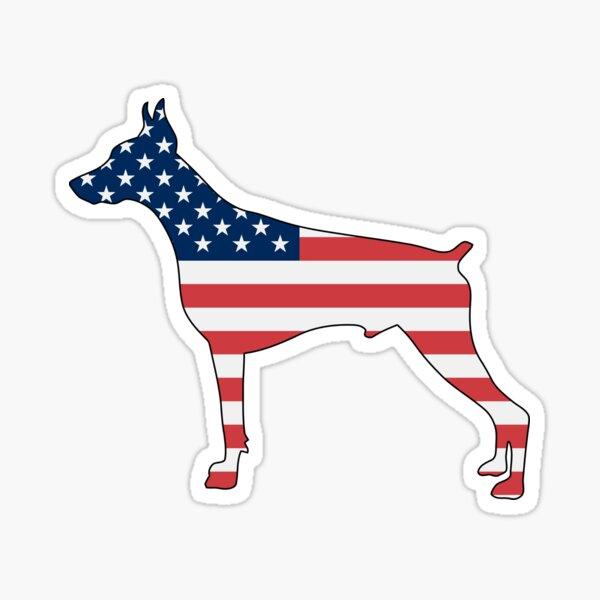 Doberman -- Dog USA American Flag Sticker
