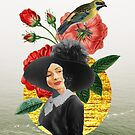 Retro Lady From The Past With Bird by Aniko Gajdocsi